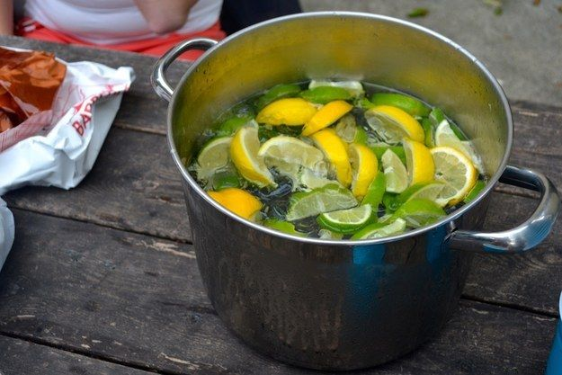 Make a white trash gin bucket: For this you'll need cheap gin, a collection of different citrus fruits (limes, lemons, and oranges), Sprite or Squirt soda, a pan or bucket, and a turkey baster. It's perfect for summer parties, and there's so much sugary citrus flavor to cover the plastic bottle gin taste that you'll think you're drinking a Capri Sun.