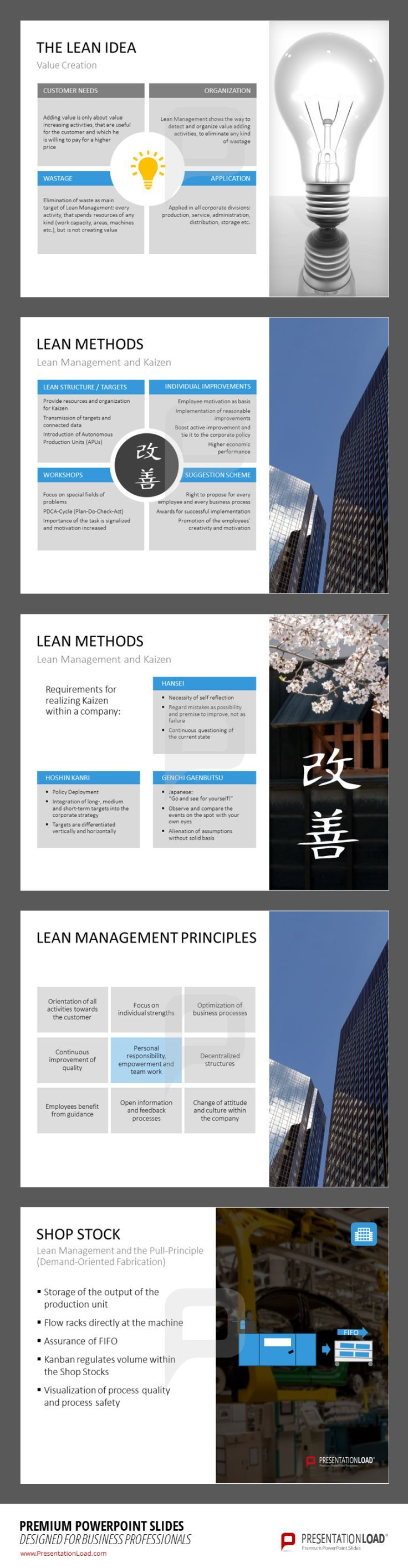 The Lean Idea is to create value without wastage. Get detailed descriptions of concepts for optimizing your production processes and benefit from our Lean Management templates. Download them at http://www.presentationload.com/lean-management.html