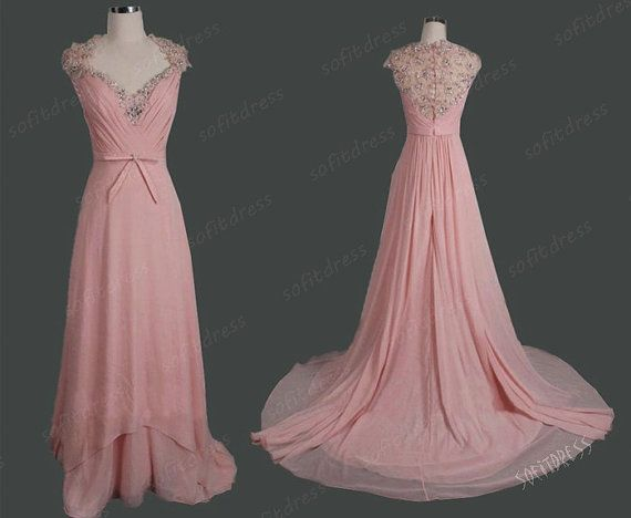 blush pink prom dress long prom dress bead wedding by sofitdress, $149.00