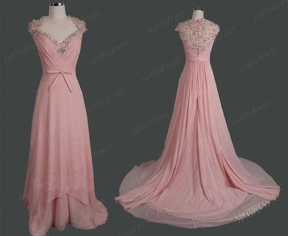 blush pink prom dress long prom dress bead wedding by sofitdress, $149.00