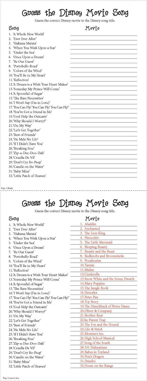 "Guess the Disney Movie Song Party Game. I made this for a baby shower based off a internet qui but it could be used for anything!. Not as easy as it looks. Spans a range in age and I can honestly say no one got them all right. Though I do suggest you say ""No smart phones/ipads to look up the answers!"":"