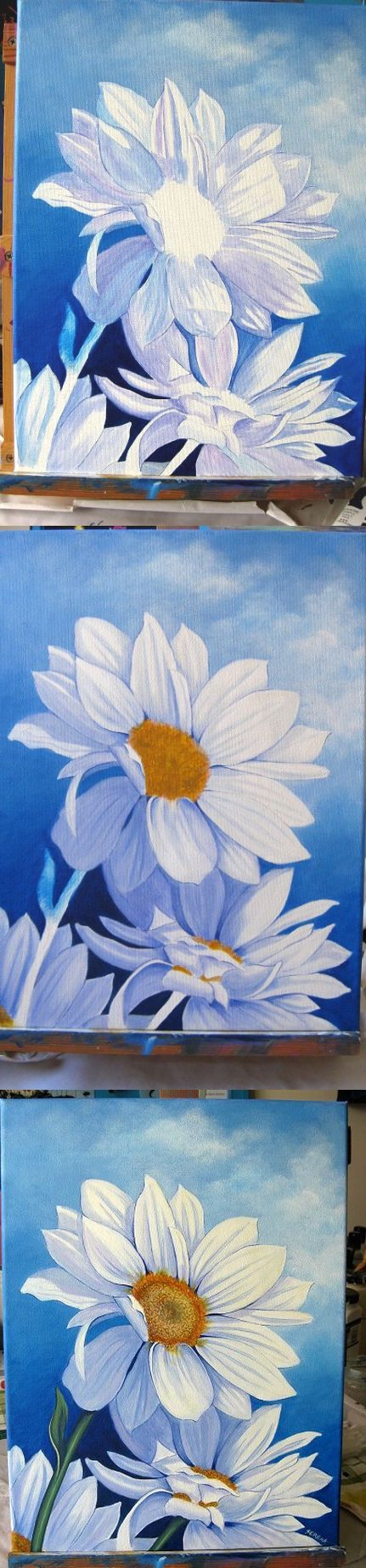 Serena Lewis, an Australian artist, beautifully captured the simplicity of this daisy in three easy steps. © Serena Lewis (Acrylic on canvas 12in x 16in)