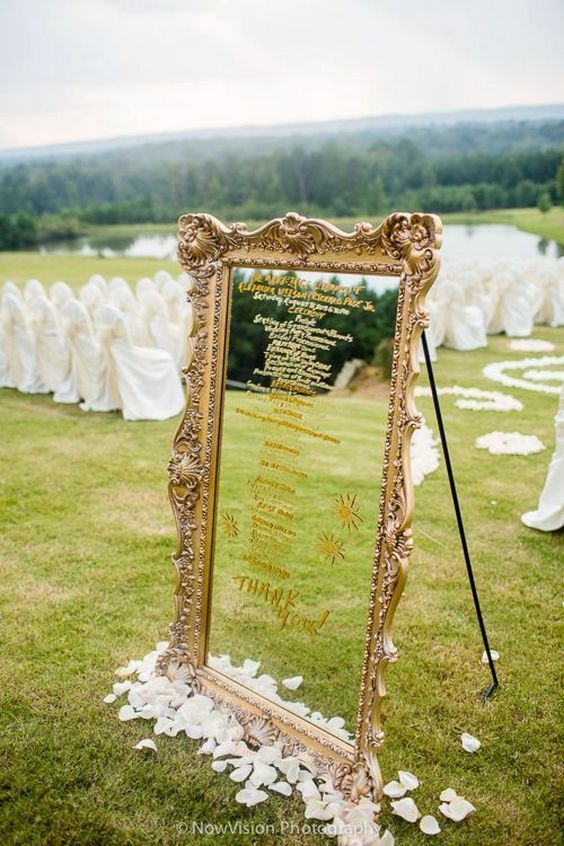 rustic mirror wedding seating ideas / http://www.himisspuff.com/mirror-wedding-ideas/2/