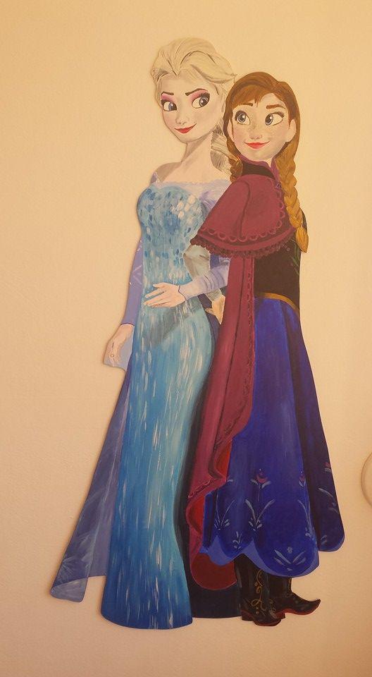 Anna en Elsa #frozen #muurschildering #wandpaneel