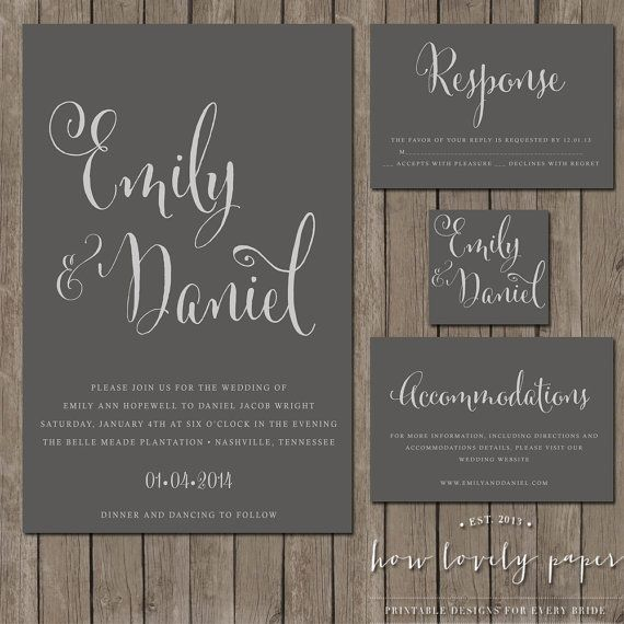 This listing is for a PRINTABLE single sided invitation  single sided  response   single sided accommodation Cards  and single sidedTop 25  best Accommodations card ideas on Pinterest   Wedding  . Nashville Wedding Invitations. Home Design Ideas