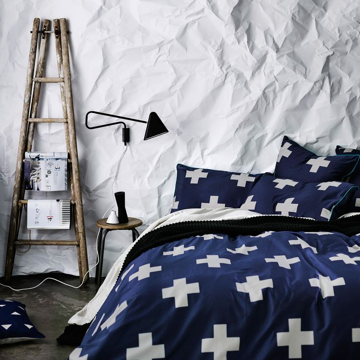 AURA Home, Winter 2014, Crosses Quilt Cover in Marine.