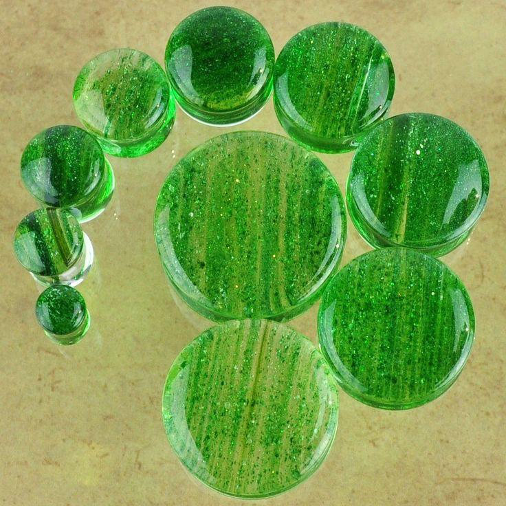 Green Glitter Glass Plugs