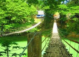 Stepping onto the bridge is a little daunting at first, the bamboo deck flexing a little under your feet. Although the support cables are made of steel, you still experience some side to side sway and up and down bounce.