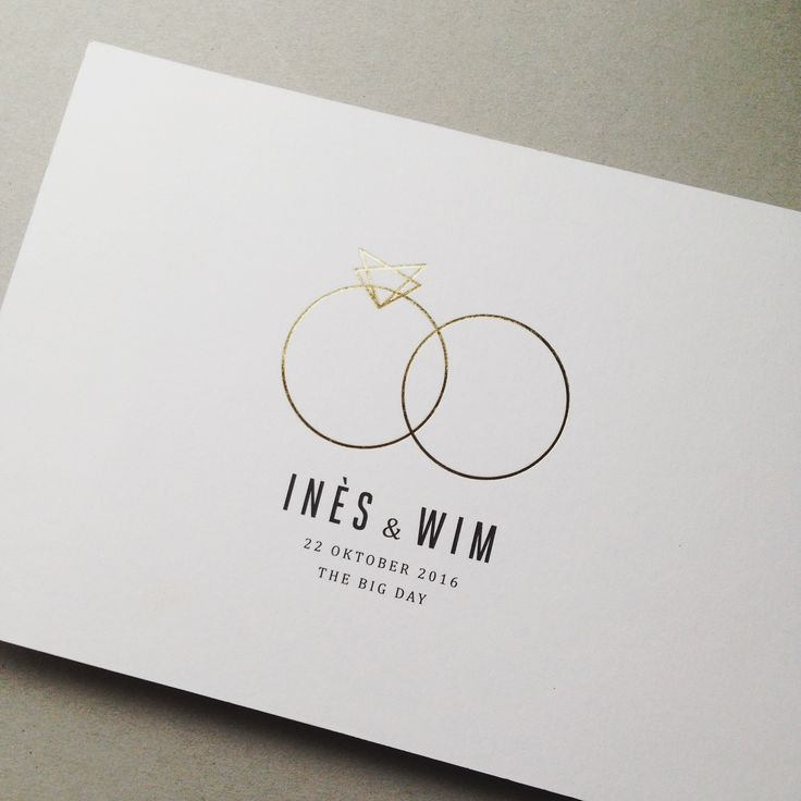 Wedding invitation // gold foil // rings // diamond // simplicity Trendy 2019 – Mi