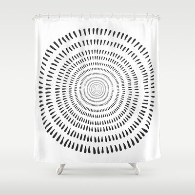 Fjorn on white Shower Curtain by Cally Creates - $68.00. Inspired by Scandinavian / Nordic design. I like how it looks like tree rings too.