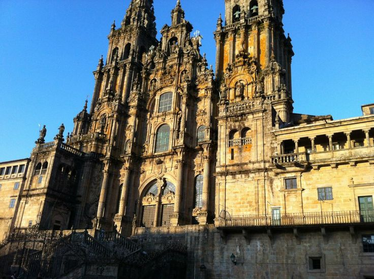 The beautiful cathedral in Santiago de Compostela