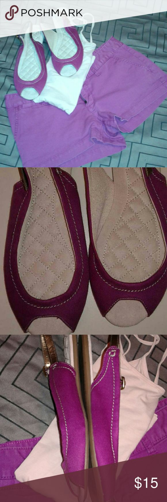 Peep toe purple Gap sandals size 7 Like new size 7 purple with Gold Hardware Gap peep toe sandal GAP Shoes Sandals