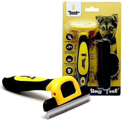 Thunderpaws Best Professional De-shedding Tool and Pet Grooming Brush, D-Shedz for Breeds of Dogs, Cats with Short or Long Hair, Small, Medium and Large - Are you sick and tired of your dog or cat shedding all over your floor, furniture or your car? Love your pet but not their fur everywhere? There's an easier way than the constant vacuuming, cleaning and scrubbing hair off your carpet, furniture, floor, clothing and car seat. With Thunderpaws D-sh...
