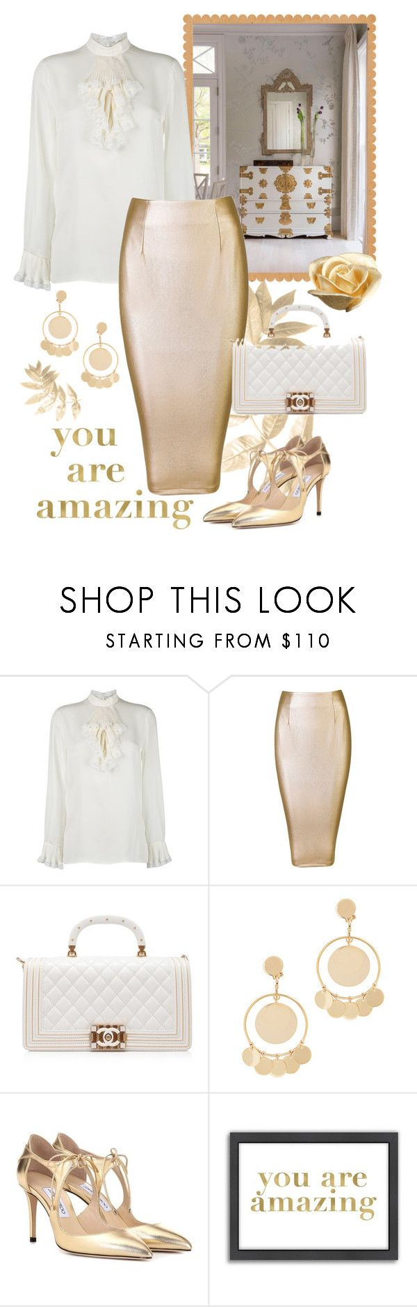 """""""Gold and White"""" by giovanina-001 ❤ liked on Polyvore featuring Gucci, Chanel, Eddie Borgo, Jimmy Choo, Americanflat and PearlsandLace"""