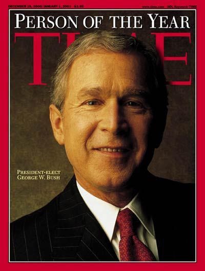 2000: TIME names U.S. President-elect George Walker Bush its Person of the Year.