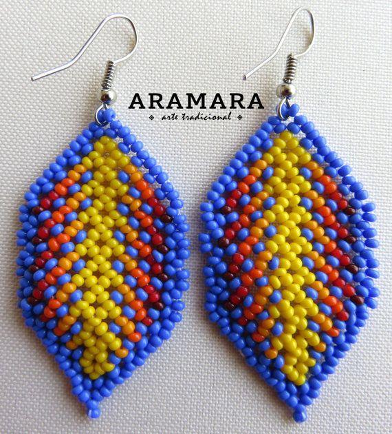 Mexican Huichol Beaded Leaf Earrings AO-0029 by Aramara on Etsy
