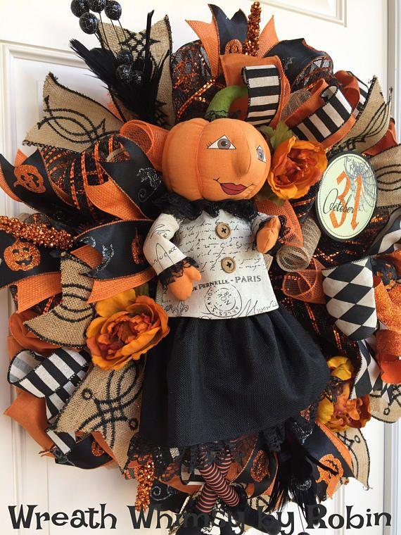Caída de Halloween Deco malla guirnalda Tan naranja y negro