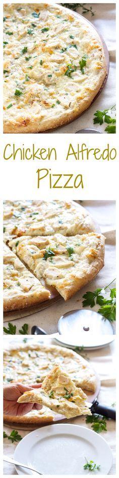 Chicken Alfredo Pizza   Recipe Runner   One of the best pizzas I've ever made! Tastes just like chicken fettuccine alfredo!