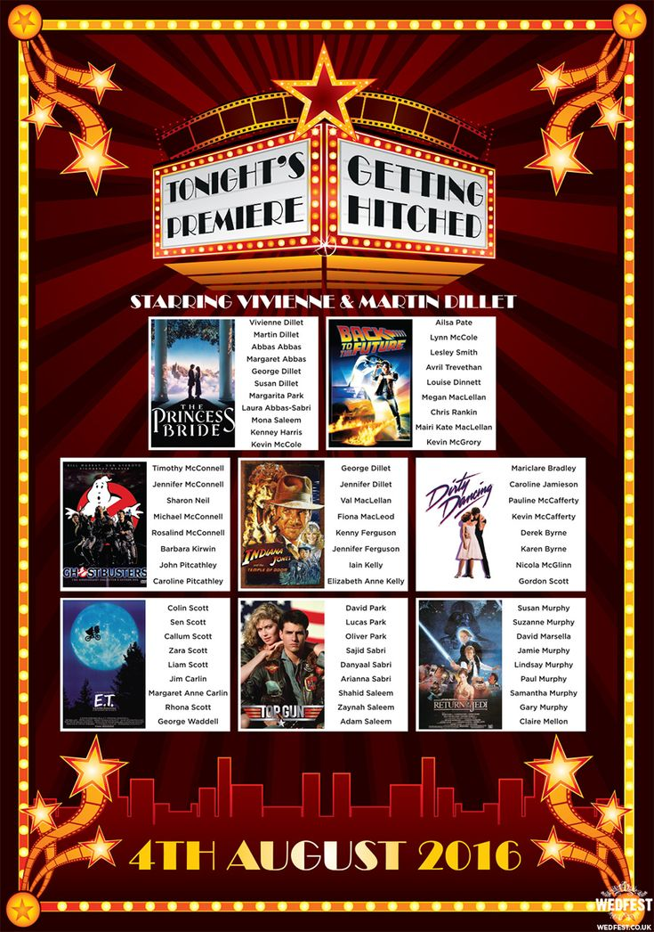 classic movie cinema wedding seating chart http://www.wedfest.co/cinema-and-movie-themed-wedding-stationery/