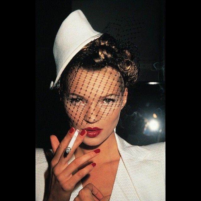 """""""What people say isn't going to stop me. I have to do things for myself."""" - Kate Moss(Pictured: Kate Moss with Fag in Galliano, Paris, by Roxanne Lowit) #KateMoss #RoxanneLowit #photography"""