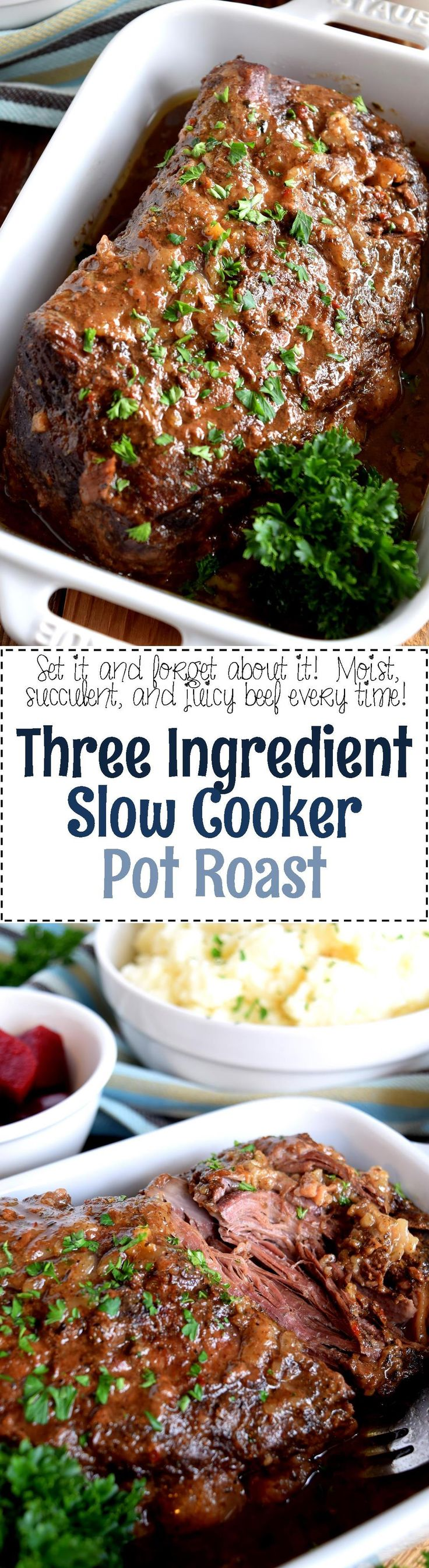 Three Ingredient Slow Cooker Pot Roast - Slow cooker-based meals are meant to be easy and affordable.  Three Ingredient Slow Cooker Pot Roast can't be beaten in terms of price and ease.  So delicious and tender, a great way to use cheaper cuts of beef.
