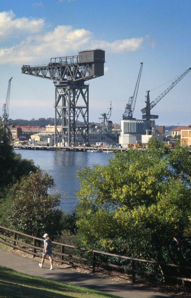 Hammerhead Crane, Garden Island Sydney now demolished, Aug 1996. © Eric Sierins photo.