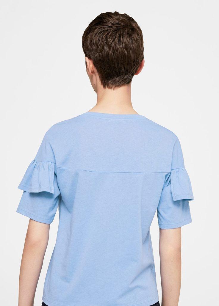 Хлопковая футболка с воланом | MANGO МАНГО
