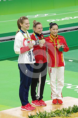 Rio2016 women trampoline winners, Canada's Rosie MacLennan, Great Britain's  Bryony Page, and China's Li Dan. Picture taken Aug 12, 2016