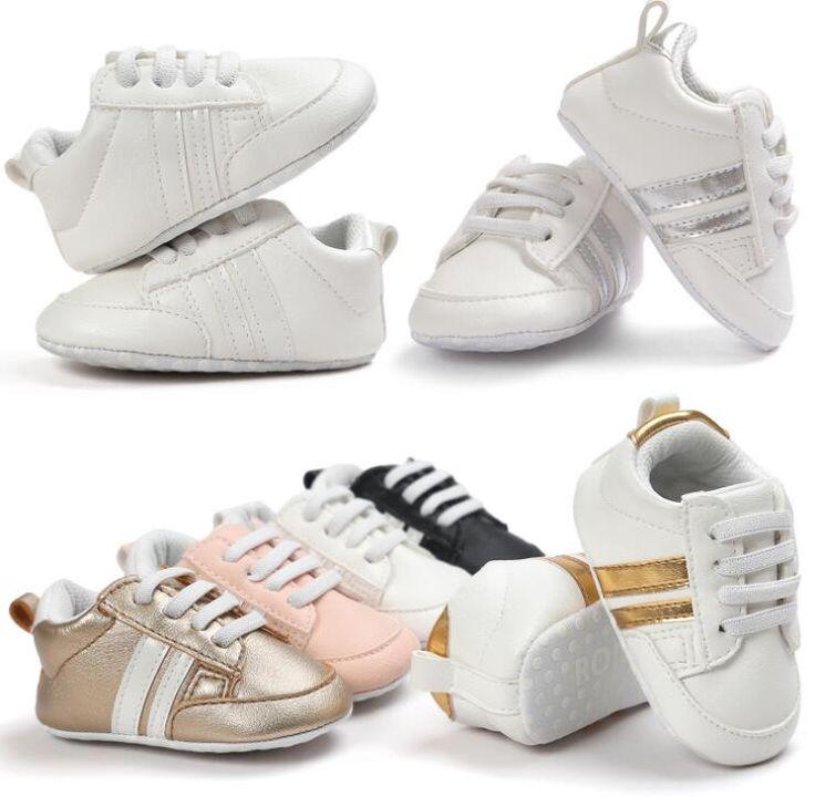 Boys Infants Anti-slip Lace Cross-Over Leather Soft Sole Shoes (0-18M)