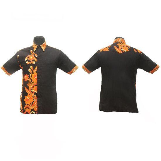 Kemeja Batik Solo Hitam Orange