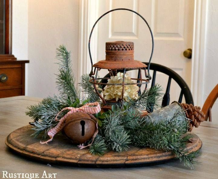 Burlap, evergreen branches, vase with white hydrangeas filled with cranberries and water possibly? Pine cones as we'll?