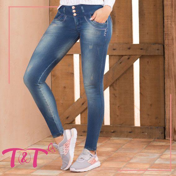 Jogger Bota Semi Tubo Color Azul Medio Perfecto Para Usar Con Tenis Tendencia Jogger Moda Jeans Moda Ropa Ropa De Mujer