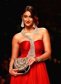 Ileana D'Cruz Latest Hot Cleveage Spicy Red Trendy Dress PhotoShoot Images At Amazon India Fashion Week