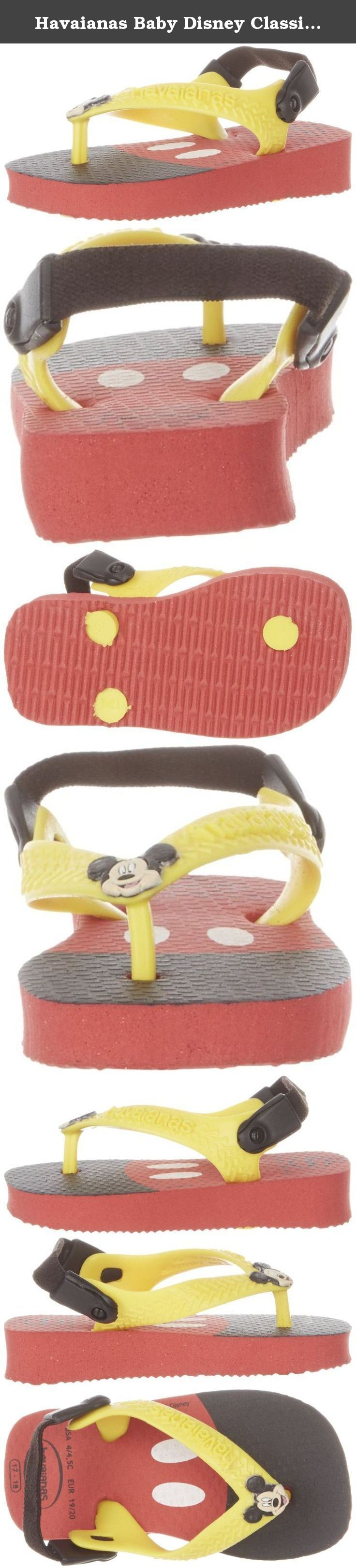 Havaianas Baby Disney Classics Flip Flop (Toddler/Little Kid),Ruby Red,20 BR(6 M US Toddler). Inspired by classic Disney characters, this flip flop features a cloth backstrap for a secure, comfy fit.