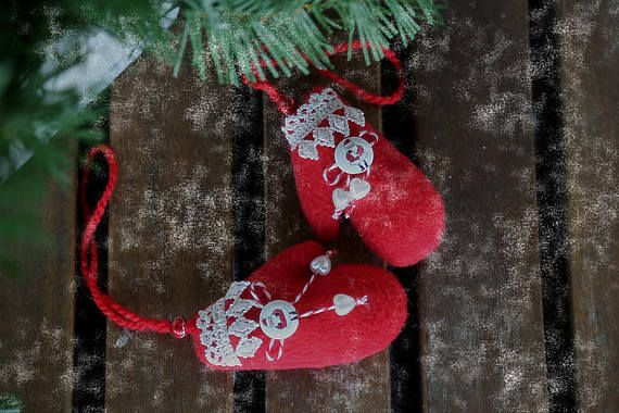 Xmas tree hanging ornaments small red mittens. Stuffed hanging
