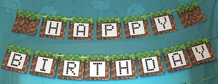 Minecraft Happy Birthday banner - free printable