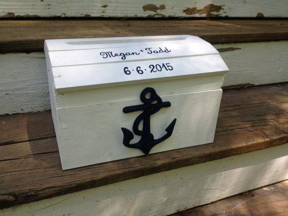Nautical wedding card box Anchor wedding beach by PineNsign