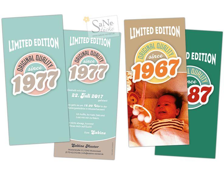 Einladungskarte Geburtstag im Vintage-Stil mit Ihrem persönlichem Geburtsjahr und in drei Farbvarianten. Hier im Beispiel mit 1977, 1967 und 1987.