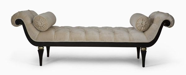"Chaise. Company: Christopher Guy. Description:  This exquisite deep-buttoned banquette is the epitome of elegance with its wide scroll sides and tapered legs with contrast ellipse detail. Finish: Black Lacquer / Italian Silver. Measurement: Width 80"" x Depth 28"" x Height 27"". 	Seat Width: 51"". Seat Depth: 28"". Seat Height: 18"". Arm Height: 27"""