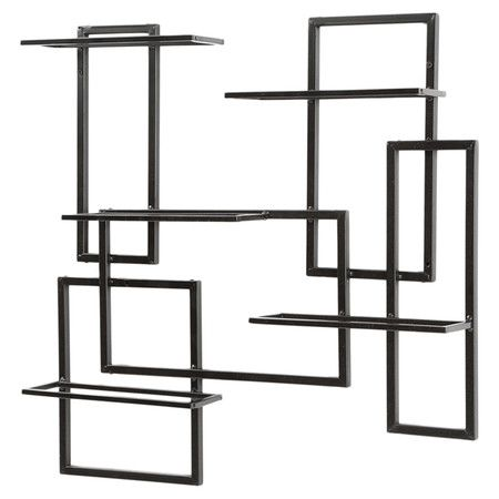 Sculptural black metal wall-mounted wine rack. Holds 10 bottles.   Product: Wine rackConstruction Material: Met...