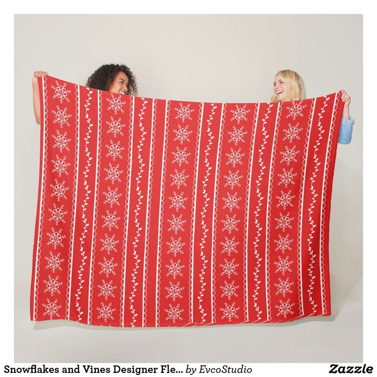 Snowflakes and Vines Designer Fleece Blanket