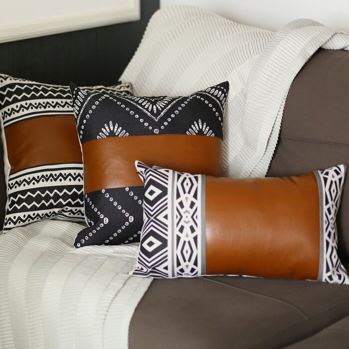 Lisbon Decorative Throw Pillow Cover Leather Throw Pillows