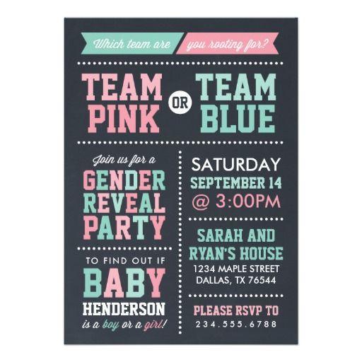 Team Pink Or Team Blue Chalkboard Gender Reveal Card. Gender Reveal  InvitationsBaby Shower ...
