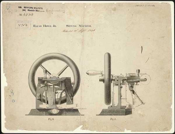 September 10, 1846 – Elias Howe is granted a patent for the sewing machine.