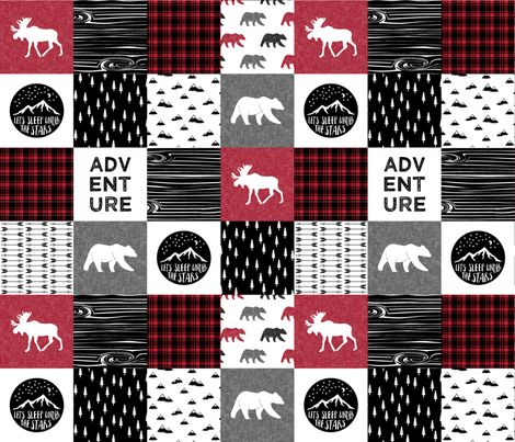 Happy Camper || Wholecloth Quilt Top - Lumberjack collection by littlearrowdesign
