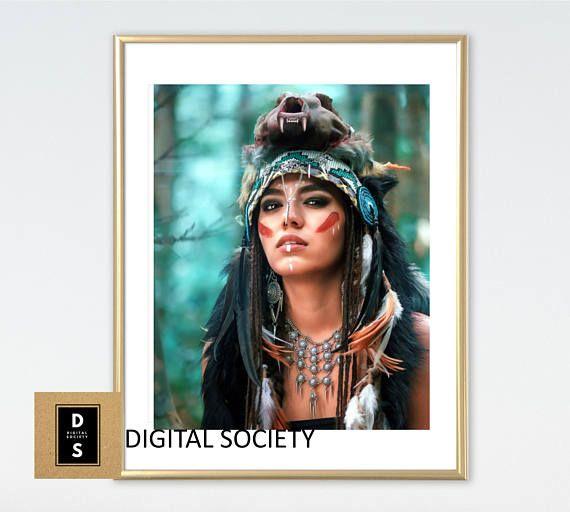 warrior woman tribal digital printable home decor boho