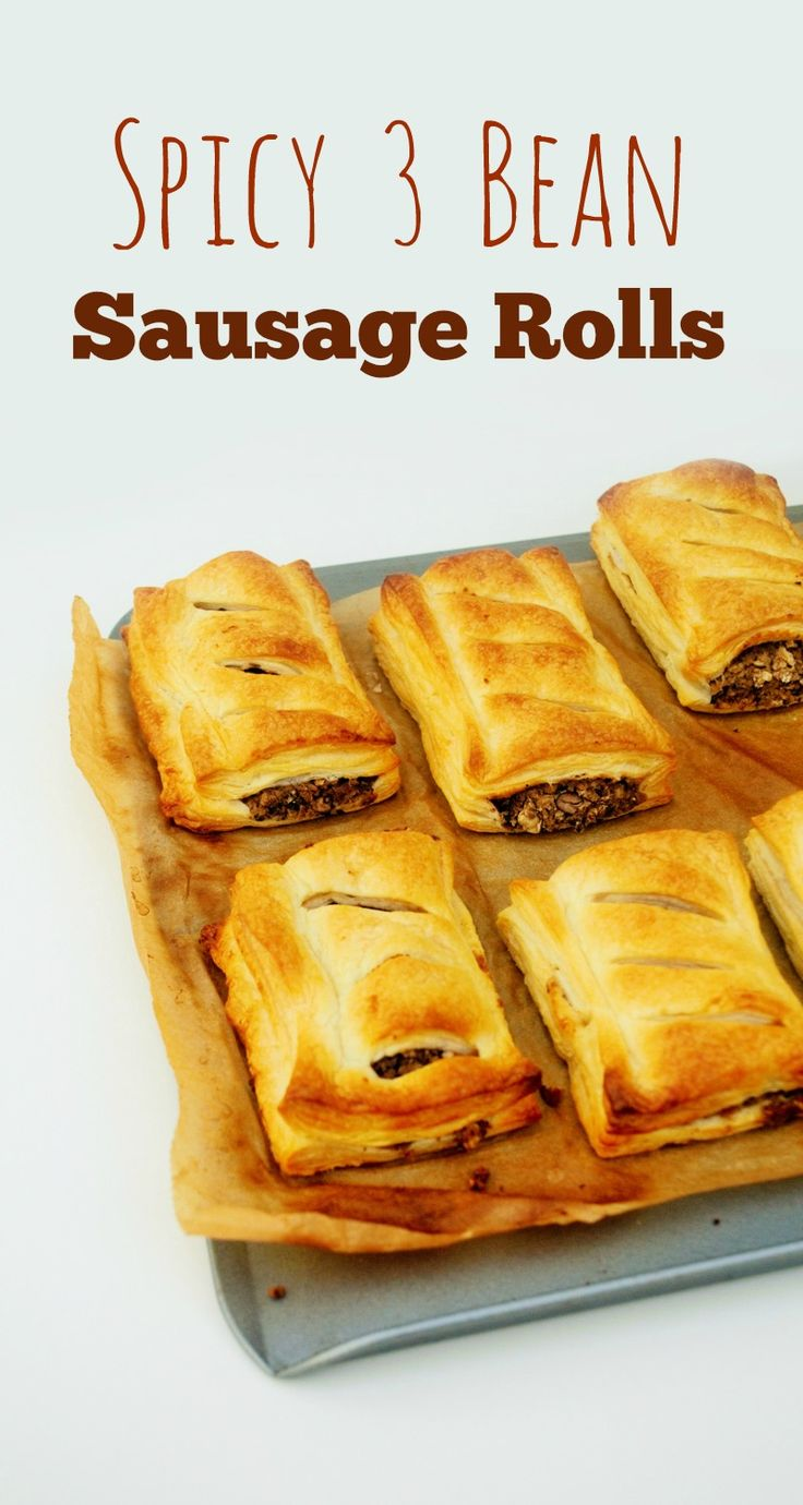 Spicy 3 Bean Sausage Rolls - vegan 'sausage stuffing' made from beans, oats & spices - could eat alone or use gluten free pastry to make vegan, gf sausage rolls!