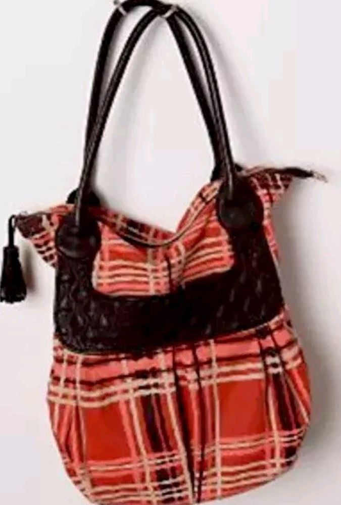Anthropologie Lucky Penny Popping Plaid Tote Pers Bag Canvas Leather Purse Luckypenny Totespers