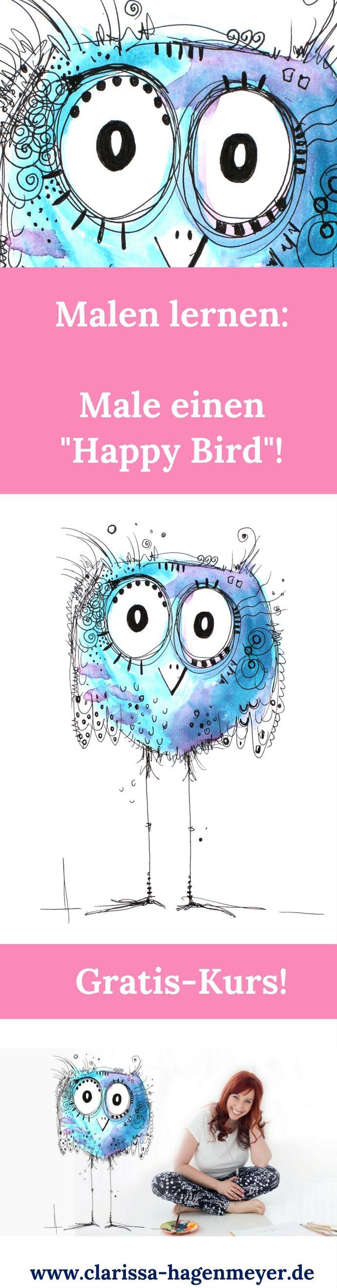 Malen lernen ganz einfach: Folge meiner Anleitung und male deinen ganz eigenen Happy Bird! Du wirst überrascht sein, wie einfach Malen sein kann - und wie viel Spaß es macht!