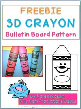 3D CRAYON Bulletin Board Display Freebie- great to use with the crayon box that talked